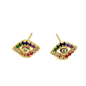 18k Yellow Gold Vermeil Pave Rainbow Evil Eye Studs18k Yellow Gold Vermeil Pave Rainbow Evil Eye Studs