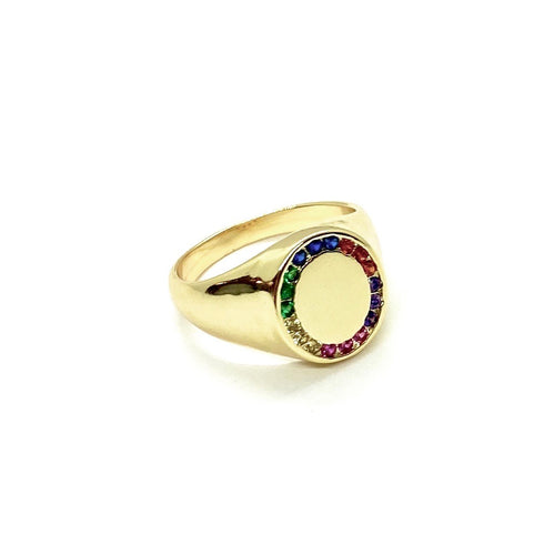 18k Yellow Gold Plated Rainbow Signet Ring
