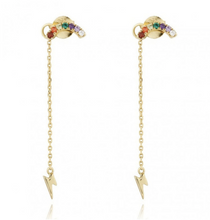 Load image into Gallery viewer, 18k-Yellow-Gold-Vermeil-Rainbow-And-Lightning-Bolt-Chain-Studs