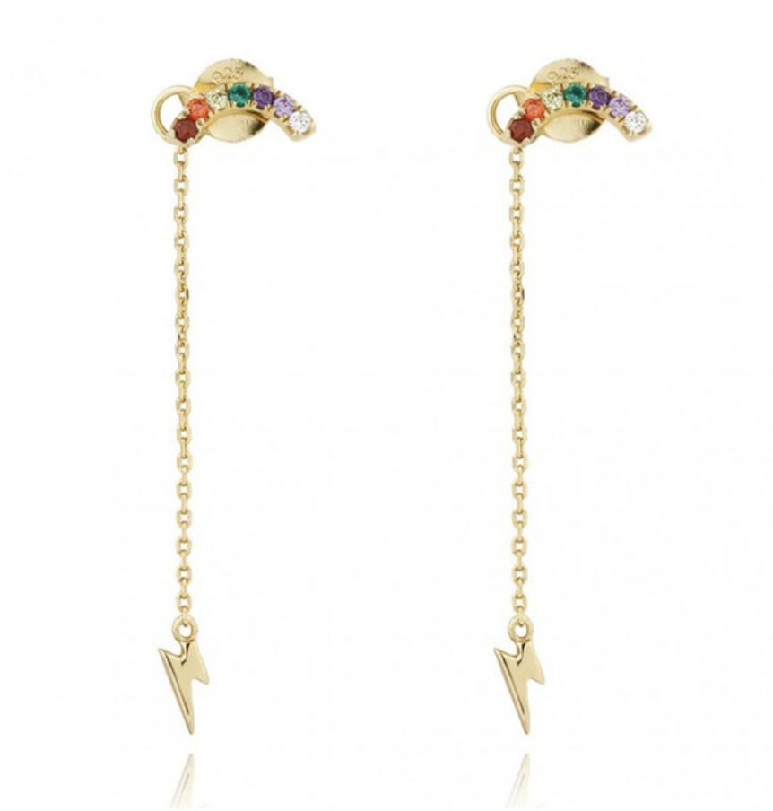 18k-Yellow-Gold-Vermeil-Rainbow-And-Lightning-Bolt-Chain-Studs