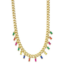 Load image into Gallery viewer, 18k-Yellow-Gold-Vermeil-Rainbow-Baguette-Curb-Chain-Choker