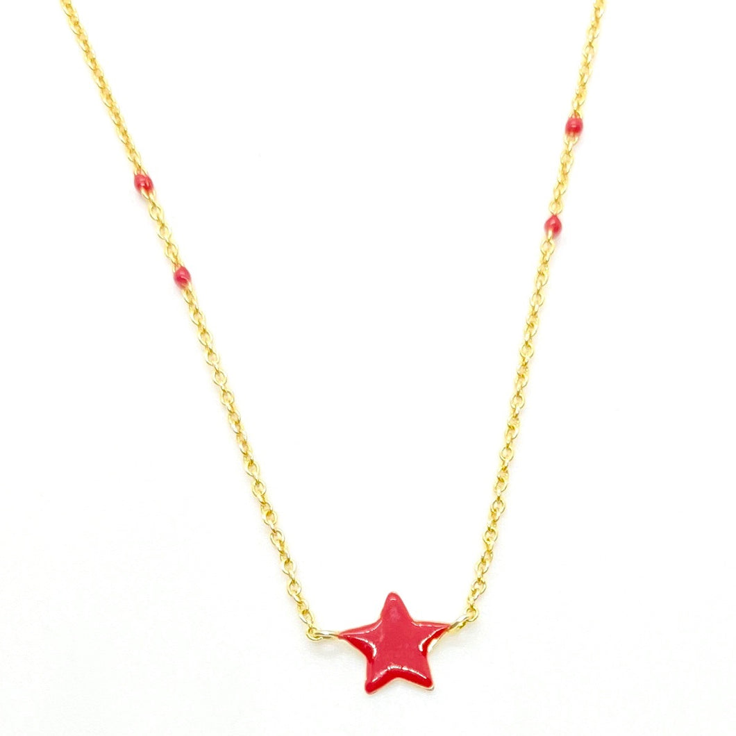 18k Yellow Gold Vermeil Red Enamel Star & Ball Chain Necklace