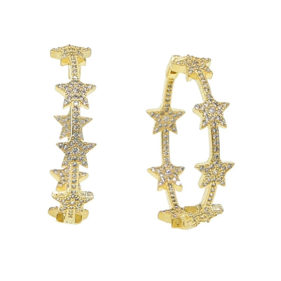 18k yellow gold plated Remi star hoops