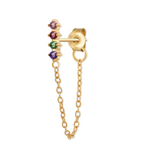 Load image into Gallery viewer, 18k-Yellow-Gold-Vermeil-Riley-Rainbow-Bar-Chain-Studs