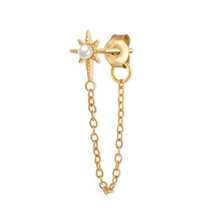 Load image into Gallery viewer, 18k-Yellow-Gold-Vermeil-Riley-Starburst-And-Pearl-Chain-Studs