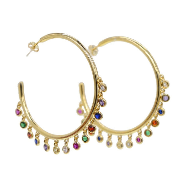 18k yellow gold plated Rainbow Roz Hoops