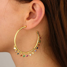 Load image into Gallery viewer, 18k yellow gold plated Rainbow Roz Hoops