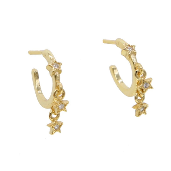 18k Yellow Gold Plated Shari Star Earrings