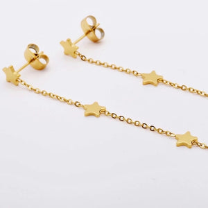 18k Gold Plated Sissy Star Chain Stud Earrings