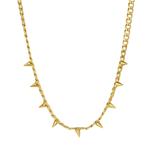 18k Yellow Gold Plated Spike Curb Chainlink Necklace