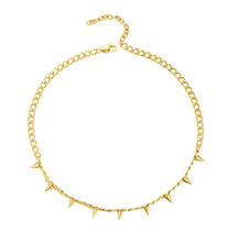 Load image into Gallery viewer, 18k Yellow Gold Plated Spike Curb Chainlink Necklace