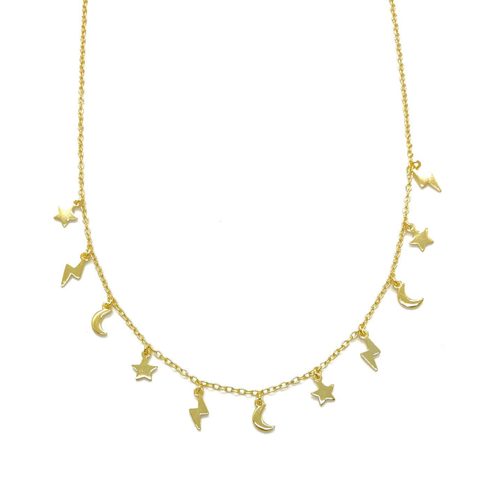 18k Yellow Gold Vermeil Multi Dangling Star Moon & Lightning Bolt Charm Necklace