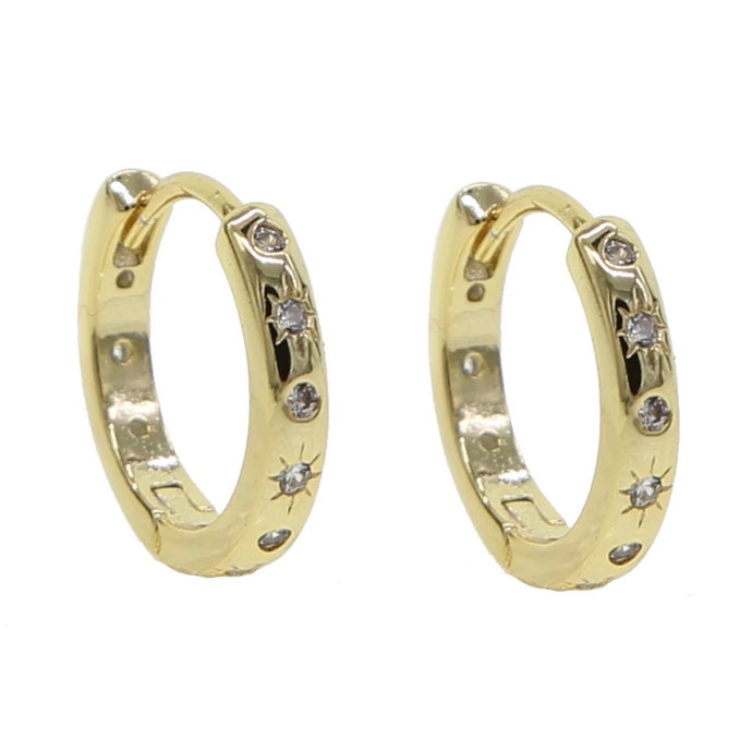 18k Yellow Gold Plated Starburst Dainty Hoops