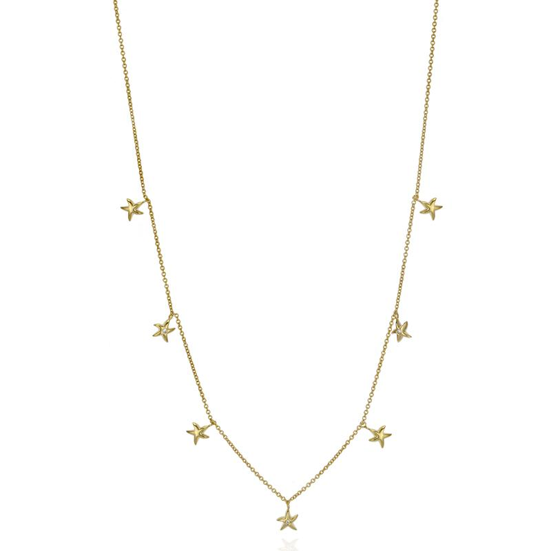 18k Yellow Gold Vermeil Starfish Charm Necklace