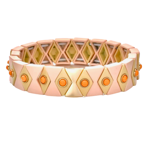 Suki Enamel Tile Stretch Bracelet - Blush & Camel