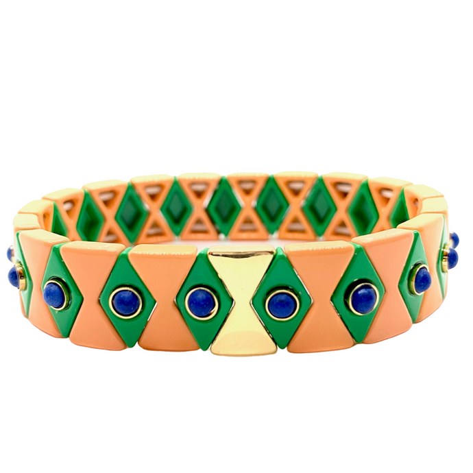 Suki Enamel Tile Stretch Bracelet - Blush & Kelly Green