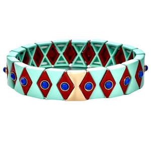 Suki Enamel Tile Stretch Bracelet (Blush & Camel)