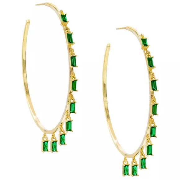 18k Yellow Gold Plated Emerald Green Baguette Talia Hoops