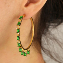 Load image into Gallery viewer, 18k Yellow Gold Plated Emerald Green Baguette Talia Hoops