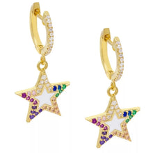 Load image into Gallery viewer, 18k Yellow Gold Plated Enamel Rainbow Thea Star Huggies