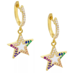 18k Yellow Gold Plated Enamel Rainbow Thea Star Huggies