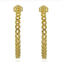 Load image into Gallery viewer, 18k-Yellow-Gold-Vermeil-Thin-Gold-Chain-Link-Hoops