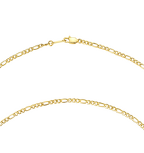Load image into Gallery viewer, 18k-Yellow-Gold-Plated-Thin-Figaro-Chain-Necklace-18""