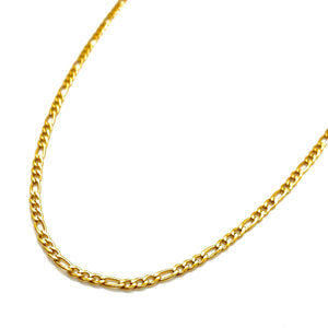 18k-Yellow-Gold-Plated-Thin-Figaro-Chain-Necklace-18""