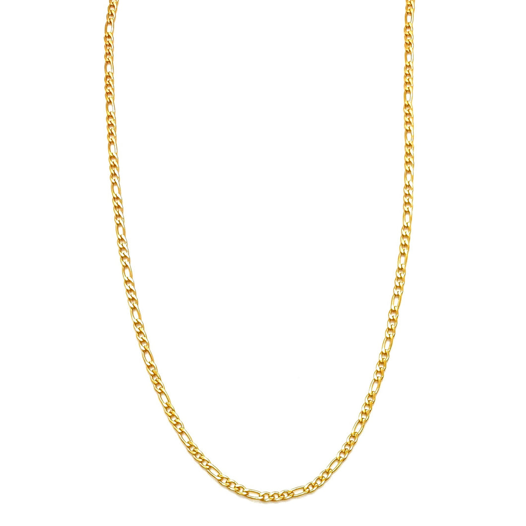 18k-Yellow-Gold-Plated-Thin-Figaro-Chain-Necklace-(18