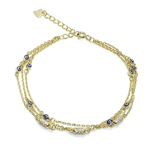 18k-Yellow-Gold-Vermeil-Triple-Chain-Evil-Eye-And-Pave-Bead-Bracelet