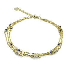 Load image into Gallery viewer, 18k-Yellow-Gold-Vermeil-Triple-Chain-Evil-Eye-And-Pave-Bead-Bracelet