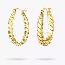 Load image into Gallery viewer, 18k Yellow Gold Plated Twist Statement Hoops