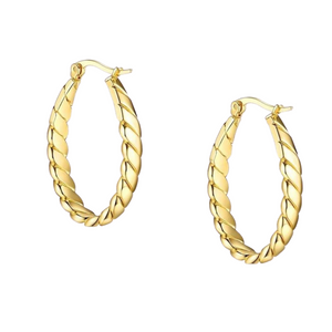 18k Yellow Gold Plated Twist Statement Hoops