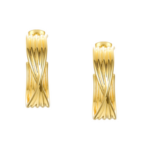 Load image into Gallery viewer, 18k Yellow Gold Plated Large Twisted Gold Hoops