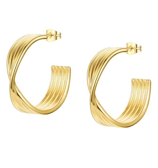 18k Yellow Gold Plated Large Twisted Gold Hoops
