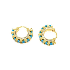 18k Yellow Gold Plated Vivian Turquoise Huggies