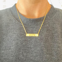 Load image into Gallery viewer, 18k Yellow Gold Vermeil VOTE Rectangle Bar Nameplate Necklace