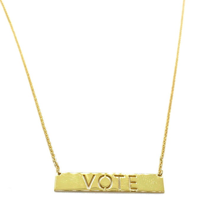 18k Yellow Gold Vermeil VOTE Rectangle Bar Nameplate Necklace
