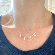 Load image into Gallery viewer, 14k-Yellow-Gold-Vermeil-Vote-Letter-And-Chain-Necklace
