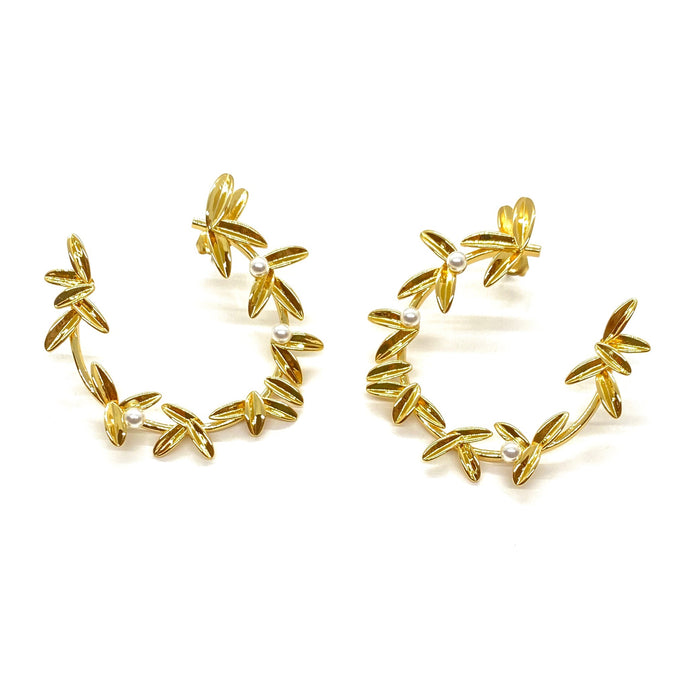 18k Yellow Gold Plated Willow Pearl Statement Earrings