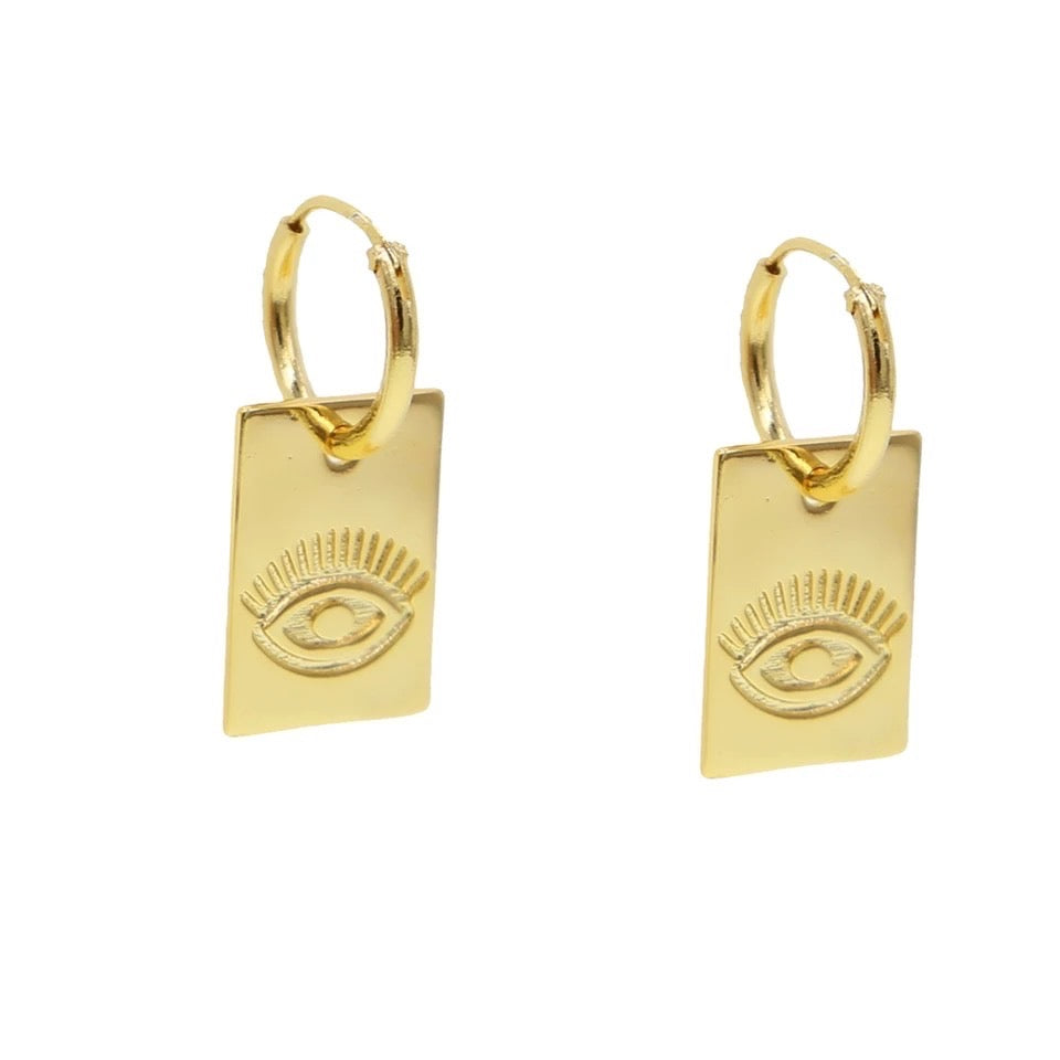 18k Yellow Gold Plated Wynn Evil Eye Huggies
