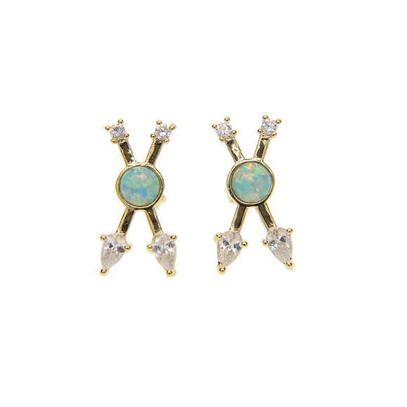 18k Yellow Gold Plated Opal X Studs
