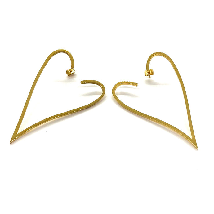 18k Yellow Gold Plated Gold XL Heart Earrings