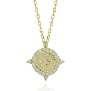 18k-Yellow-Matte-Gold-Vermeil-Zion-Evil-Eye-Coin-Charm-Necklace