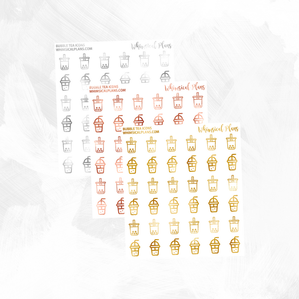 Bubble Tea Icons FOIL