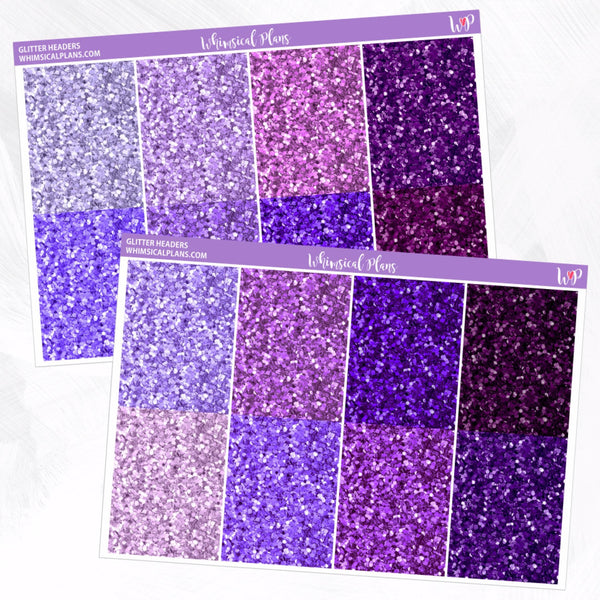 Glitter Headers | Purple Multicolor