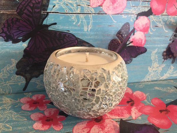 Silver mosaic candle