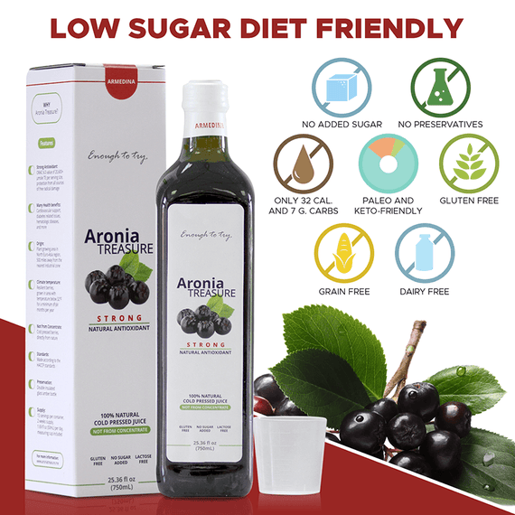 Low sugar diet friendly. With no added sugar, additives, or preservatives, and only 32 calories and 7 grams of carbs per shot, Aronia treasure can benefit practically any diet. It's Paleo and Keto-friendly, and naturally free of gluten, grains, and dairy.
