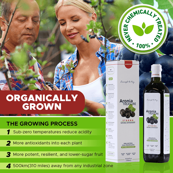 WILD GROWN Our aronia berries are never chemically treated, and grow in sprawling fields in Siberia, where sub-zero temperatures reduce acidity and push more antioxidants into each plant—resulting in a more potent, resilient, and lower-sugar fruit.