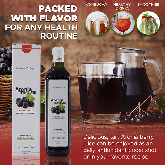 FOR ANY HEALTH ROUTINE Delicious, tart Aronia berry juice can be enjoyed as an energy shot or in your favorite recipe. Mix with water, juice, or soda—or get creative and use add a low-sugar twist to smoothies, kombucha, craft cocktails and mocktails.
